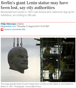 Berlin s giant Lenin statue may have been lost  say city authorities   World news   theguardian.com