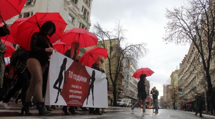 Марш на  Црвените чадори  против насилството врз сексуалните работници